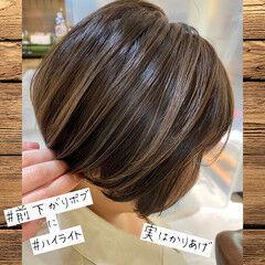 ショート ハイライト 刈り上げ ショートヘア ヘアスタイルや髪型の写真・画像