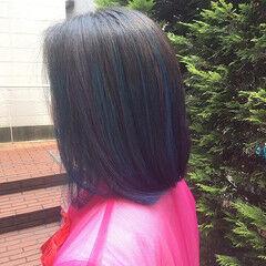 ハイライト エレガント ボブ ブルー ヘアスタイルや髪型の写真・画像
