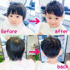 黒髪 ナチュラル メンズ ダブルバング ヘアスタイルや髪型の写真・画像