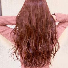 ロング ナチュラル ベリーピンク ピンクバイオレット ヘアスタイルや髪型の写真・画像