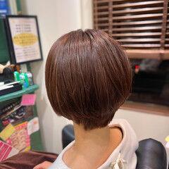 ショート ナチュラル オレンジベージュ ショートヘア ヘアスタイルや髪型の写真・画像