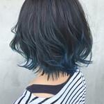 ブルーアッシュ ボブ インナーカラー 裾カラー