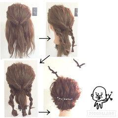 編み込み くるりんぱ ヘアアレンジ セミロング ヘアスタイルや髪型の写真・画像
