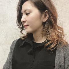 グラデーションカラー 大人かわいい かわいい ミディアム ヘアスタイルや髪型の写真・画像