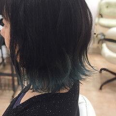 ブルー 夏 ブリーチ Wカラー ヘアスタイルや髪型の写真・画像