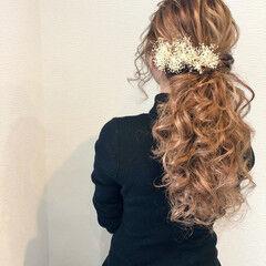 ヘアセット 結婚式 フェミニン ロング ヘアスタイルや髪型の写真・画像