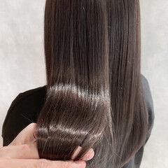 艶グレーベージュ 透明感カラー セミロング 美髪 ヘアスタイルや髪型の写真・画像