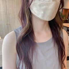 ロング ピンクバイオレット ラベンダーピンク 透明感カラー ヘアスタイルや髪型の写真・画像