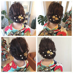 結婚式 振袖 ナチュラル セミロング ヘアスタイルや髪型の写真・画像