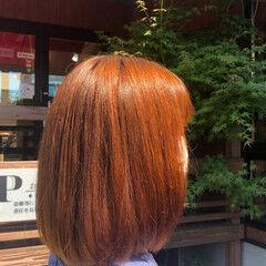 ボブ オレンジブラウン エレガント オレンジカラー ヘアスタイルや髪型の写真・画像