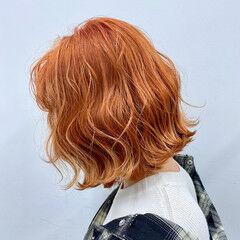 春ヘア デート 切りっぱなしボブ イベントカラー ヘアスタイルや髪型の写真・画像