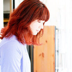 インナーカラーオレンジ ボブ ナチュラル コーラル ヘアスタイルや髪型の写真・画像