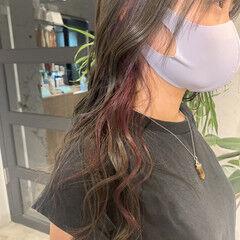 ラベンダーピンク オリーブベージュ フェミニン ピンクバイオレット ヘアスタイルや髪型の写真・画像