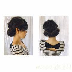 黒髪 ギブソンタック 結婚式 フェミニン ヘアスタイルや髪型の写真・画像