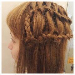 外国人風 ウォーターフォール ハーフアップ ヘアアレンジ ヘアスタイルや髪型の写真・画像