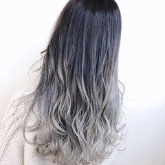 グラデーションカラー ダブルカラー ホワイトグラデーション ストリート ヘアスタイルや髪型の写真・画像