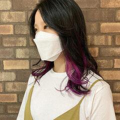 インナーカラー 塩基性 カラートリートメント ピンクバイオレット ヘアスタイルや髪型の写真・画像