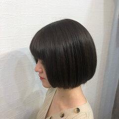 ナチュラル ミニボブ 切りっぱなしボブ ショートヘア ヘアスタイルや髪型の写真・画像