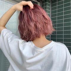 ナチュラル ボブ ピンクヘア ピンクベージュ ヘアスタイルや髪型の写真・画像