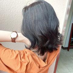 圧倒的透明感 極細ハイライト ミディアム 暗髪女子 ヘアスタイルや髪型の写真・画像