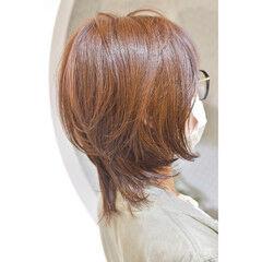 ウルフカット ショート ウルフ女子 オレンジベージュ ヘアスタイルや髪型の写真・画像