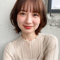 小顔ショート 外国人風 デート シースルーバング ヘアスタイルや髪型の写真・画像
