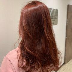 大人可愛い 大人ロング ロング ベリーピンク ヘアスタイルや髪型の写真・画像