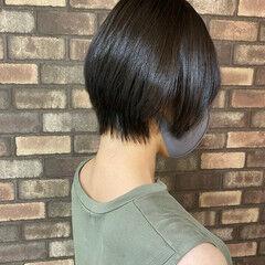 ナチュラル 縮毛矯正 スロウ ショート ヘアスタイルや髪型の写真・画像