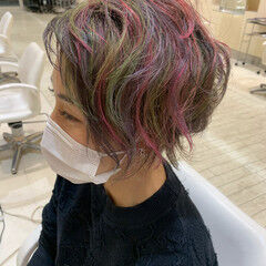 ダブルカラー バイオレットカラー ショート ショートボブ ヘアスタイルや髪型の写真・画像