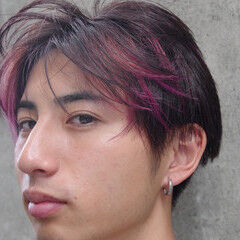 インナーピンク メンズ メンズマッシュ メンズカット ヘアスタイルや髪型の写真・画像