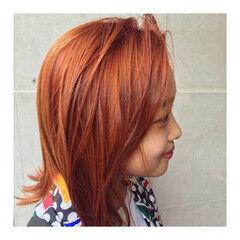 ハイトーン オレンジ ボブ ストリート ヘアスタイルや髪型の写真・画像