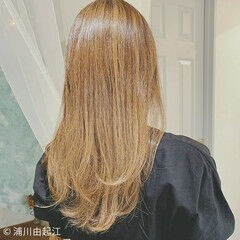 ロング インナーカラー エレガント ハイライト ヘアスタイルや髪型の写真・画像