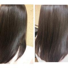 縮毛矯正 ロング ナチュラル ストレート ヘアスタイルや髪型の写真・画像