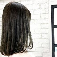 セミロング 暗髪 縮毛矯正 外国人風カラー ヘアスタイルや髪型の写真・画像