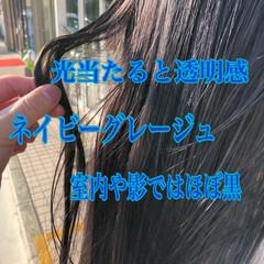ナチュラル ネイビーアッシュ 暗髪 ロング ヘアスタイルや髪型の写真・画像