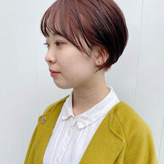 小顔ショート 耳掛けショート ショートカット ニュアンスヘア ヘアスタイルや髪型の写真・画像