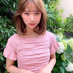 韓国ヘア フェミニン シースルーバング 韓国風ヘアー ヘアスタイルや髪型の写真・画像