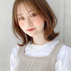 ミディアムレイヤー モテボブ ミディアム 外ハネ ヘアスタイルや髪型の写真・画像