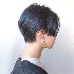 ダークカラー ハンサムショート クール モード ヘアスタイルや髪型の写真・画像