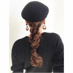 ローポニーテール ロング 可愛い セルフヘアアレンジ ヘアスタイルや髪型の写真・画像