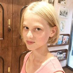ガーリー 金髪 ボブ 外国人風カラー ヘアスタイルや髪型の写真・画像