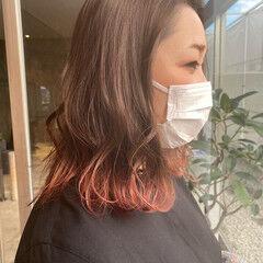 ストリート ピンク 裾カラー 大人ミディアム ヘアスタイルや髪型の写真・画像