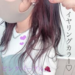 イヤリングカラー ピンクブラウン フェミニン インナーカラー ヘアスタイルや髪型の写真・画像