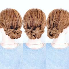 フェミニン ロング 三つ編み アップスタイル ヘアスタイルや髪型の写真・画像