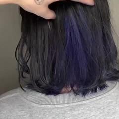 モード ミディアム インナーカラー ブルーラベンダー ヘアスタイルや髪型の写真・画像