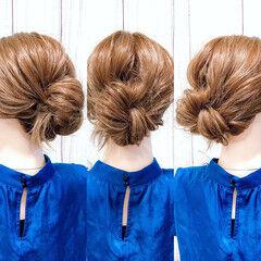 くるりんぱ セルフヘアアレンジ フェミニン ヘアアレンジ ヘアスタイルや髪型の写真・画像