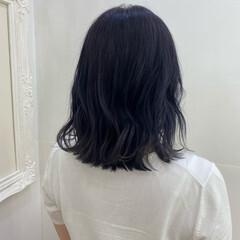 ブルーラベンダー ブルージュ ネイビーブルー モード ヘアスタイルや髪型の写真・画像