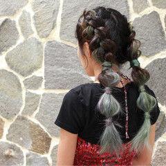 透明感 パステルカラー ヘアアレンジ ストリート ヘアスタイルや髪型の写真・画像