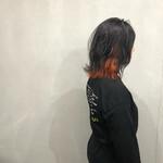 ボブ インナーカラーオレンジ 波ウェーブ 外ハネボブ