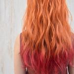 ガーリー 韓国風ヘアー 裾カラーオレンジ アプリコットオレンジ